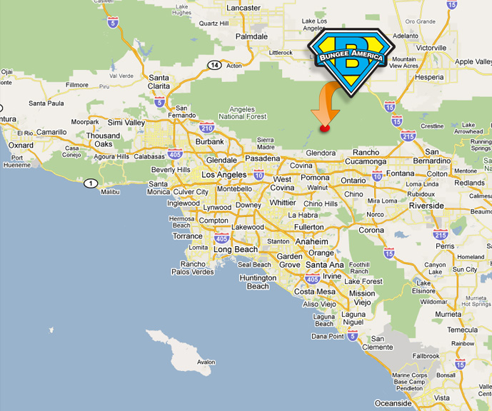 Los Angeles Map Location.Location Driving Directions For Your Bungee Adventure
