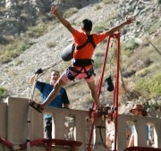 photo of man doing backward plunge bungee jump off the bridge to nowhere bungee jump in Southern California